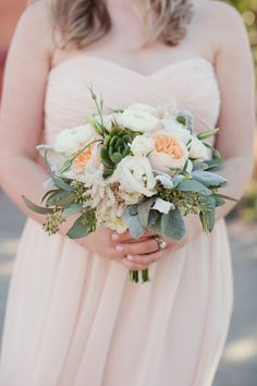 Bridesmaids bouquet with peach, white and green succulents. Wedding by Eden Harkins - DFW Events. Photo by Sarah Kate Photography. #wedding #bridesmaid #bouquet