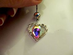 Gorgeous iridescent looking! Must have! | SALE Belly Ring Aurora Borealis Teardrop Crystal by Aim4Beauty, $6.99