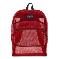 8add116318e3 JanSport Mesh Pack Backpack TNB2 High Risk Red Travel Bag Beach See Through  NEW  JanSport  Backpack