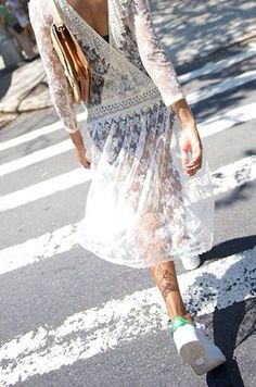 white vintage lace dress with Adidas sneakers | trainers.  Obsessed with this look right now.