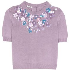 Miu Miu Embellished Virgin Wool Sweater ($1,225) ❤ liked on Polyvore featuring tops, sweaters, purple, purple top, miu miu top, purple sweaters, embellished sweater and embellished top