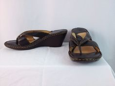 Born Brown Leather Thong Wedge Sandals W61563 Size 8 #Born #PlatformsWedges