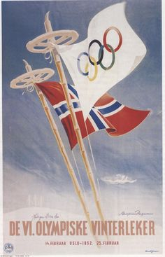 Norwegian poster for the 1952 Winter Olympic Games in Oslo, Norway. Mom's cousin's husband Simon Slattvik was a gold medaler in ski jumping. Ski Vintage, Vintage Ski Posters, Retro Poster, Vintage Winter, Vintage Art, Winter Olympic Games, Winter Games, Winter Olympics, Oslo Winter