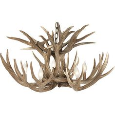 Pre-Owned Western Deer Chandelier ($1,149) ❤ liked on Polyvore featuring home, lighting, ceiling lights, brown, brown lamps, wire lamp, wire lights, wire chandelier and deer antler lights