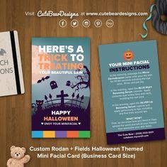 Custom Rodan + Fields Halloween Themed Mini Facial Card (Business Card Size)