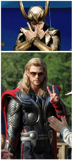 The Avengers cool bros, Loki & Thor, throwin' up gang signs and....