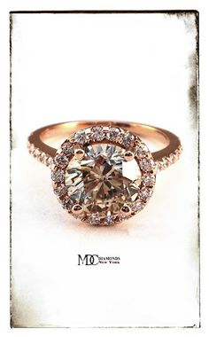Rose Gold Champagne Round Diamond Halo Cathedral Engagement Ring with pave diamond band