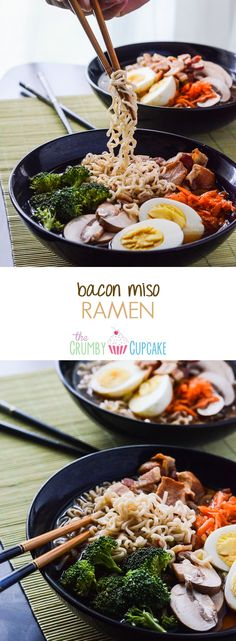 Bacon Miso Ramen | A ramen dish, created in tribute to Japanese culture, but enhanced with an essential American fat - bacon! #WeekdaySupper