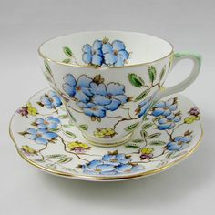 Foley Tea Cup and Saucer in Springdale Pattern Bone China