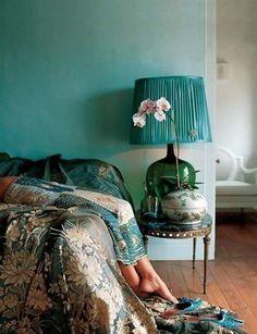 romantic teal bedroom. Shoot, I want that bedding.