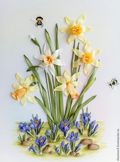 Купить Картина Нарцисс. «Ботаническая коллекция. Весна». Вышивка лентами - картина, картина цветов, панно