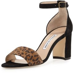 Manolo Blahnik Lauratomod Suede Ankle-Wrap Sandal ($499) ❤ liked on Polyvore featuring shoes, sandals, ankle wrap sandals, suede sandals, block heel ankle strap sandals, wrap sandals and strappy sandals