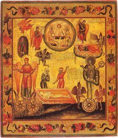 Судьбы праведника и грешника, русская икона, изображение взято с сайта godaughter.com