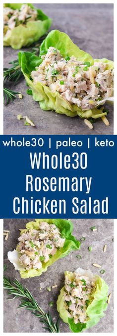Whole30 Rosemary Chicken Salad (Paleo Keto) - this Whole30 chicken salad with fresh rosemary and homemade mayo is creamy, light, and bursting with flavor. Perfect for a make ahead lunch or brunch dish! | tastythin.com