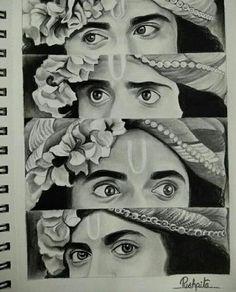 Girl Drawing Sketches, Art Drawings Sketches Simple, Creative Sketches, Krishna Drawing, Krishna Art, Krishna Names, Hope Painting, Durga Painting, Temple Drawing