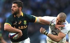 Willie Le Roux of South Africa hands off the tackle of Mike Brown of England during the QBE Intenational match between England and South Africa at Twickenham Stadium on November 2014 in London,. Chris Robshaw, Rugby Pictures, South Africa Rugby, Twickenham Stadium, All Blacks Rugby, Rugby Sport, Rugby Players, Our World, Hands
