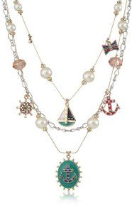 "Betsey Johnson ""Ivy League"" Anchor and Sailboat Illusion Necklace"