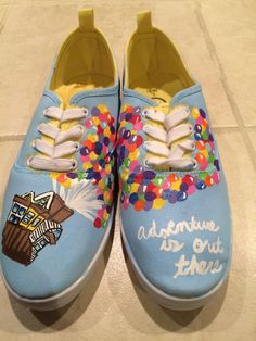 Disney pixars Up handpainted canvas shoes by DsShoesWithCharacter Painted Canvas Shoes, Painted Sneakers, Hand Painted Shoes, Disney Shoes, Disney Outfits, Vans Shoes Fashion, Creative Shoes, Disney Colors, School Shoes