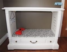 .DIY Dog or Cat Bed. Made from a dresser or shelf unit. Wooden with a drawer too. Can paint it any color and ad a cushion with material of your choice. Pinner: Lennon Hodson