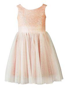 Wallbridal Sequin Tulle Flower Girl Dress Toddler Dress Junior Bridesmaid Girl Formal Dress (2, Blush)