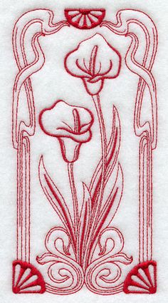Art Nouveau Calla Lily - redwork embroidery from Embroidery Library, Inc.  #textile