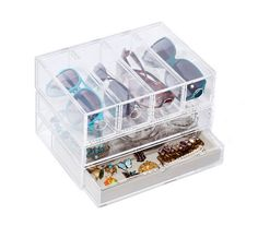 Acylic case with drawers for holding jewelry and accessories