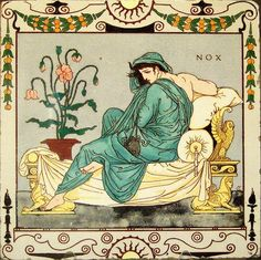 Tile - designed by Walter Crane British Museum Depicting Night Made by Maw & Co. 1878 (Arts and Crafts movement)