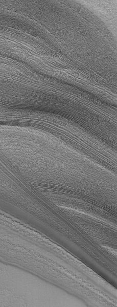 This Mars Global Surveyor (MGS) Mars Orbiter Camera (MOC) image shows layers exposed in the north polar region of Mars. The north polar cap is underlain by a thick sequence of layered material. The layers are most commonly exposed on the slopes of troughs that are believed to have formed by wind erosion. Credits: NASA/JPL/Malin Space Science Systems | via RedOrbit.com