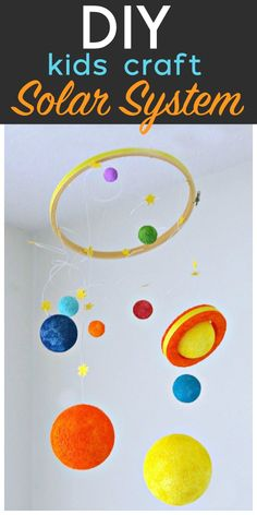 DIY Solar System Kids Craft is part of Science Room Solar System - DIY Solar System Kids Craft Styrofoam Kit Crafts for Kids Space Projects for Kids DIY Space Mobile TodaysCreativeLife com Solar System Mobile, Solar System Art, Solar System Crafts, Space Crafts For Kids, Craft Activities For Kids, Diy For Kids, Space Activities, Space Kids, Craft Ideas