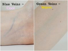 **This kind of grosses me out, but it's cool and very helpful!** If your veins are Greenish--you have a warm skin tone and require a foundation with peach tints. If your veins are Blueish-- you have a cool tone and require foundation with pink tints Cool Skin Tone, Cool Tones, Good Skin, Neutral Skin Tone, Skin Undertones, Warm Undertone, Seasonal Color Analysis, Color Me Beautiful, Soft Summer