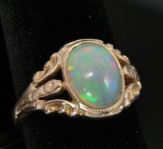 Antique Art Deco Art Nouveau Era Ring with Large by MSJewelers, $1065.00