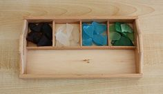 Beach Glass Sorting- from Counting Coconuts. Beach themed Montessori crafts.
