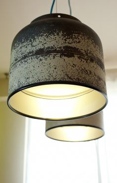 pendant lights made from upcycled propane tank #sustainable #design