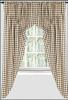 Prairie Curtains Windowpane Check Black Primitive Country Rustic Window Treatment By Hcbr 59 99