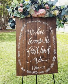 We love because He first loved us This lovely bible verse sign makes a beautiful statement piece for your wedding or home! ______________________________________ ♦ Lead Time: 5 Weeks ♦ Dimensions: 30x22 ♦ Item ships USPS priority mail ______________________________________ Our