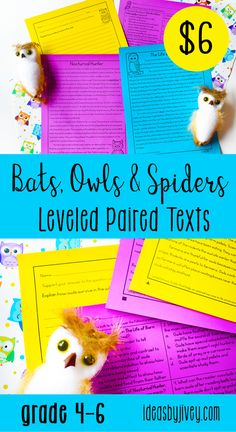 "Use these differentiated paired passages with your students to integrate high-interest, engaging informational passages! There are two passages about bats so that they can compare megabats to microbats. There are also two passages about owls - one about how they hunt and eat, and another about their life cycle. Lastly, use the poem, ""The Spider and The Fly"" along with an informational passage about the good and bad of spiders. #pairedtexts #readingactivities #fourthgrade #fifthgrade #sixthgrade"