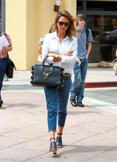 Jessica Alba Just Changed Everything You Know About Jeans and a Button-Down: It's not hard to throw on your go-to baggy jeans and a white blouse.
