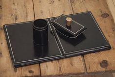 Black Leather 3 Piece Vintage English Desk Set Leather Desk Set-Desk Blotter-Pen Holder-Ink BlotterBirthday / Christmas / Anniversary Gift by VintageFlicker