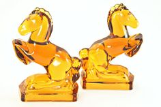 Amber Glass Rearing Horse Bookends L.E. by FindsFromYesteryear