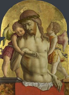 The Dead Christ supported by Two Angels. about 1470-5         Carlo Crivelli ( Tempera on poplar, 72.4 x 55.2 cm, The National Gallery, London ).