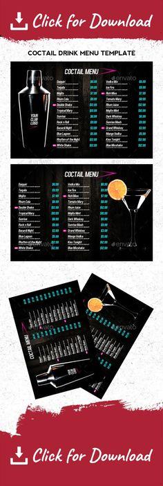 Bi-fold Restaurant Food Menu Template Pinterest Food menu - bar menu template