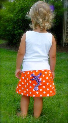 CLEMSON tiger tail applique skirt & by wrententen....so adorable!