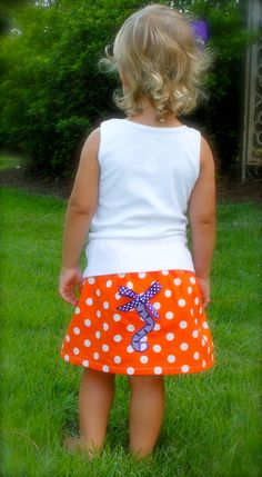 ****Oh my goodness... def gonna need this for Gracyn for Clemson games!!**** Clemson tiger tail applique skirt & monogram tank set- perfect for tiger football