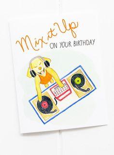 Mix It Up Dog DJ Birthday Card