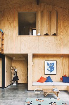 howbezar is this plywood house by New Zealand architect Davor Popadich via thebezar-plywood, interior, design Architectural Digest, Plywood House, Plywood Walls, Plywood Sheets, Hardwood Plywood, Plywood Furniture, Kid Furniture, Wooden Walls, Modern Interior Design