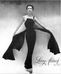 1950 Dovima in black evening sheath with floating panels by Larry Aldrich