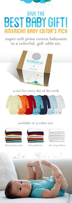 The perfect baby shower gift. Fun, colorful, and packaged for gift-giving from Primary.com. Seven super soft pima cotton babysuits - something parents actually need! Available in short and long sleeve. Ships for free, and most orders arrive in 1-3 business days.