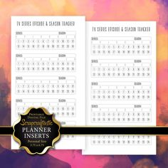 """TV Series Episode & Season Tracker Personal Size Printable Planner Insert"""