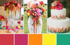 Create the most colourful wedding, full of fun by using bright and punchy shades of red, orange, pink, yellow and green, and bring the sunshine to your day