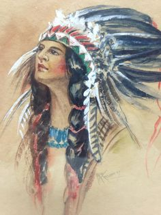 Original Native American Indian Maiden Watercolor Vintage Signed